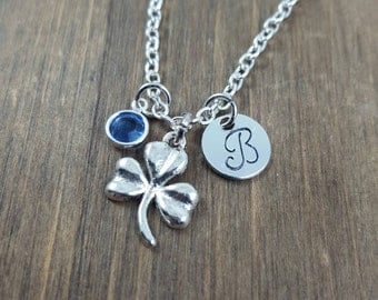 Personalized Shamrock Necklace - Hand stamped Monogram Three Leaf Clover Necklace - Initial, Birthstone Necklace