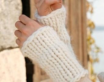 Handmade hand knit arm / wrist / hand warmers in soft 100% wool