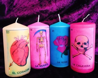 Four La Loteria Mexican Scented Candles