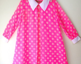 Women's Vintage 60's JODY of CALIFORNIA Mod Hot Pink Polka Dot Open Front Dress-Jacket 10/12