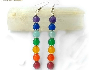 Rainbow Chakra Earrings, Chakra Stone Earrings, Gemstone Earrings, Multi Coloured Jade Earrings, Boho, Hippie, Zen, Wellbeing, Yoga