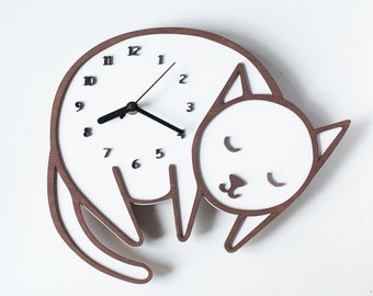 Cat,wall clock, children clock, modern wall clock, cat clock, nursery wall clock,wooden clock, nursery clock, kids wall clock, quiet clock