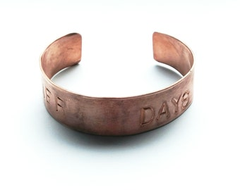 quote cuff, quote jewelry, metal cuff, copper saying cuff, summer days, summer quotes, summer cuff, quote meanings