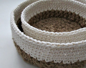 Crocheted Jute and Cotton Round Nesting Baskets ∙ Storage Baskets