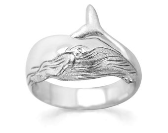 Humpback Whale Ring #028 - Whale Ring, Ocean Ring, Animal Ring, Sea Life Ring, Nautical Ring, Sterling Silver or Gold
