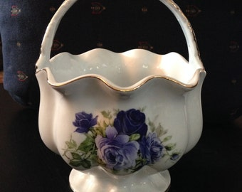 """Formalities """"Blue Victorian Rose Collection"""" porcelain basket by Baum Bros"""