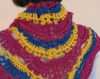 handmade multicolor shawl, triangle lace  shawl, crocheted shawl,multicolor lace wrap,