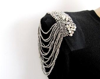 Faenza Epaulet, 2PCS.Metalic Bead Shoulder Pads  DIY Craft Metalic Bead Chain Dress Embellishment Costume Accessory Sew On