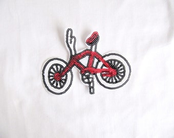 Bicycle Patch/ İron on Patch/Sequin Bicyle Applique/ Red Bicyle Patch /İron On Bicyle/Heat Transfer Bicyle