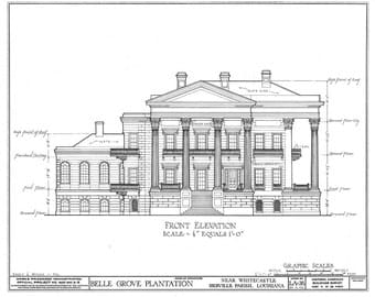 """Belle Grove Architectural Drawing Blueprint 18"""" x24"""" Architectural Drawing Blueprint  Giclee Fine Art Print 18""""x 24"""""""