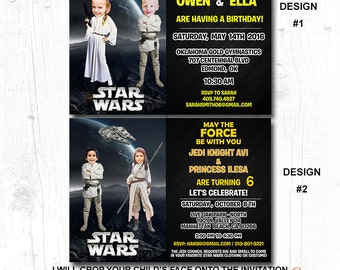 star wars photo invitations, star wars invitations dual party, star wars invitations for twins, star wars invitation girl