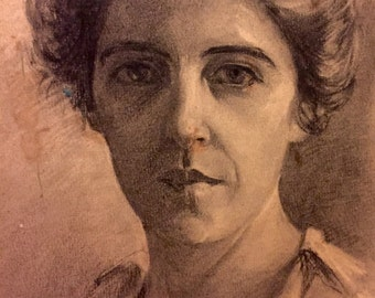Portrait of a woman with upswept hair