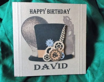 Personalised Steampunk Style Top Hat  Any Occasion, Birthday, Congratulations, Thank You etc.