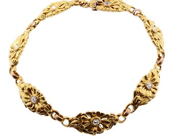 Art Nouveau 14K Gold & Diamond Bracelet