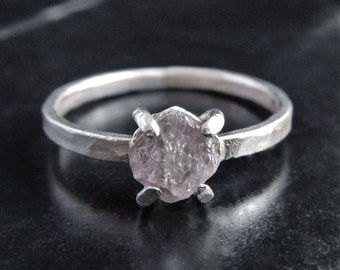 Rough Pink Diamond and Sterling Silver Ring - Pink Diamond Ring - Diamond Engagement Ring - Raw Diamond Ring - Rough Cut Diamond Ring