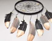 Native American Style Dream catcher, Wall Hanging Feathers Dreamcatcher, Black and Gold Decor,  Black Wall Decor, Black Dreamcatcher