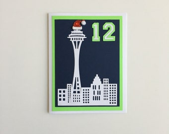 Handmade Seattle Seahawks Christmas 12 &  the City 12th Man Space Needle Greeting Cards
