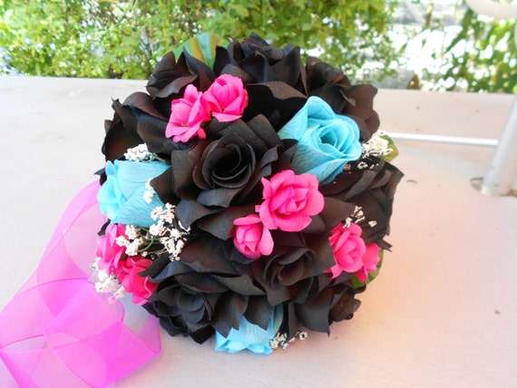 Brides Maids 3 bouquets 3 Groomsmen boutonnieres ,fuchsia, turquoise and ivory  roses Nosegay round style 8 pc