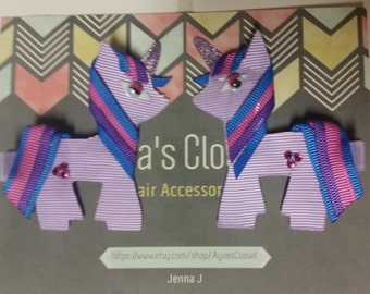 Set of 2 My Little Pony Ribbon Hair Clips