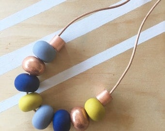 Polymer clay bead necklace. Polymer clay necklace. Copper grey mustard navy 'the jasmine'