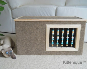Brown Beaded Cat House - Wooden Cat Furniture - Unique Beaded Doorway and Window with Sterling Silver - Deluxe Carpeted Cat Condo, Cat Cave.