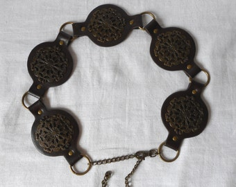 Brown Leather Belt,   Leather And Metal Disc Belt, Boho Style Belt, Hippie Style Belt, Vintage Belt,  Women Belt