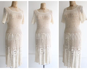 Vintage 1960's Cream Crochet Dress sixties bohemian mod gogo boho 60's sixties