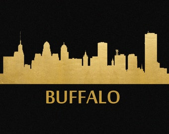 Buffalo Skyline Gold Foil Print 8x11