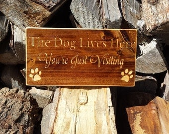Pet Sign, Dog Sign, Dog Lives Here, Custom Signs, Wood Signs, Rustic Sign, Cedar Sign, Wall Decor, Dog Lover