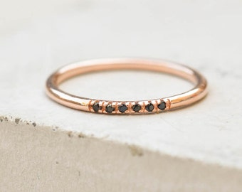 Petite, Dainty Ultra thin Stacking Band Ring with 6 mini micropave CZ Black Stones - ROSE GOLD - quarter eternity band
