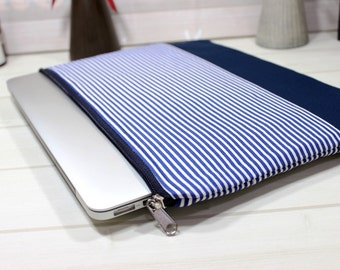 Modern laptop sleeve, blue stripe case, zippered Macbook case, 13 inch laptop case, minimal clutch, Macbook Air case 13, Macbook Pro sleeve