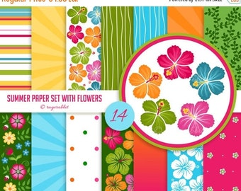 80% OFF Summer Digital Paper Set With Hibiscus Flowers Clip Arts, Backgrounds, Hawaii, Party Decorations, Banner, Luau, illustrations