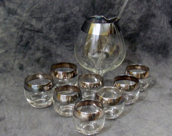 Vintage 60s  Brandy Snifter Pitcher With 8 Silver Roly-Poly Tumblers - Indiana Glass