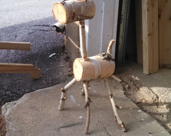 white birch log reindeer