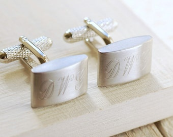 Personalised Brushed Finish Cufflinks ~ Engraved Wedding, Anniversary, Birthday, Father's Day, Gift