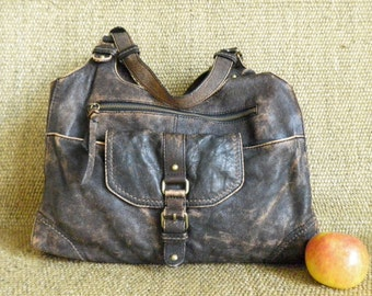 Vintage AUTOGRAPH Brown Leather Zip Up Top Hobo Bag Hand Bag