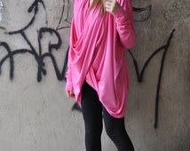 NEW Sexy Pink Asymmetrical Top / Extra Long Sleeves Blouse / Asymmetric Loose Cotton Tunic Top by EUGfashion