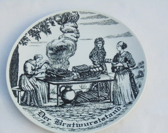 German Porcelain, Black and White Plate, German Wall Plate, Wall Hanging Plate, Wurst Stand Plate