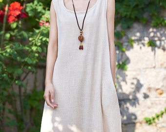 Womens Loose Fitting Sleeveless Cotton And Linen Jumper Dress, Linen Dress, Cotton Dress, Womens Dresses, Casual Dress, Flaxen Dress