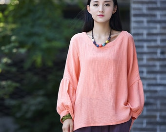 Womens Autumn Loose Fitting Puff Sleeve Cotton Linen T Shirts, Womans Autumn Puff Sleeve Cotton Linen Blouses, Tops For Women, Pink Tops