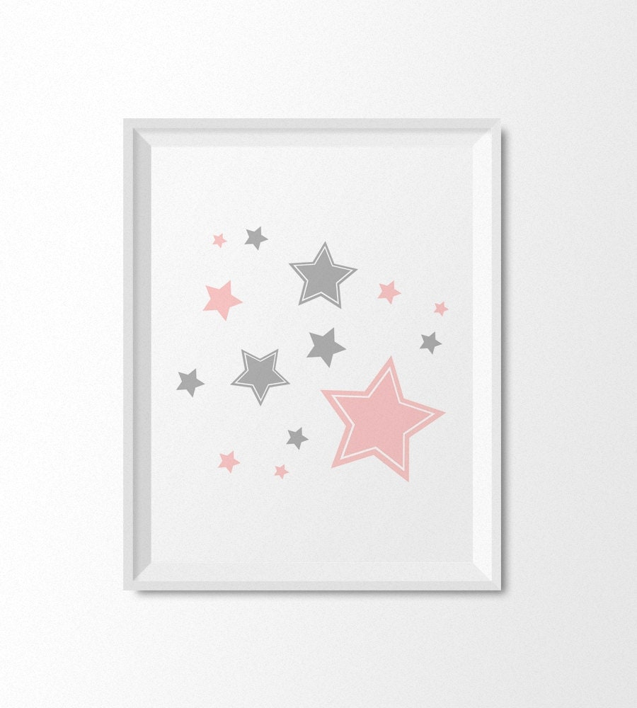 Moon And Stars Nursery Prints Printable Nursery Art Pink