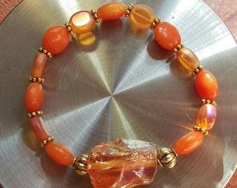 Carnelian & quartz bracelet