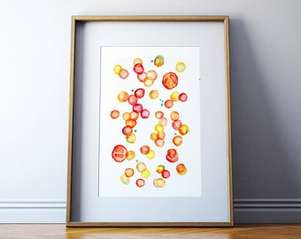 Blood Cells Watercolor Print - Histology and Hematology Art Print - Red and White Blood Cell Abstract Print