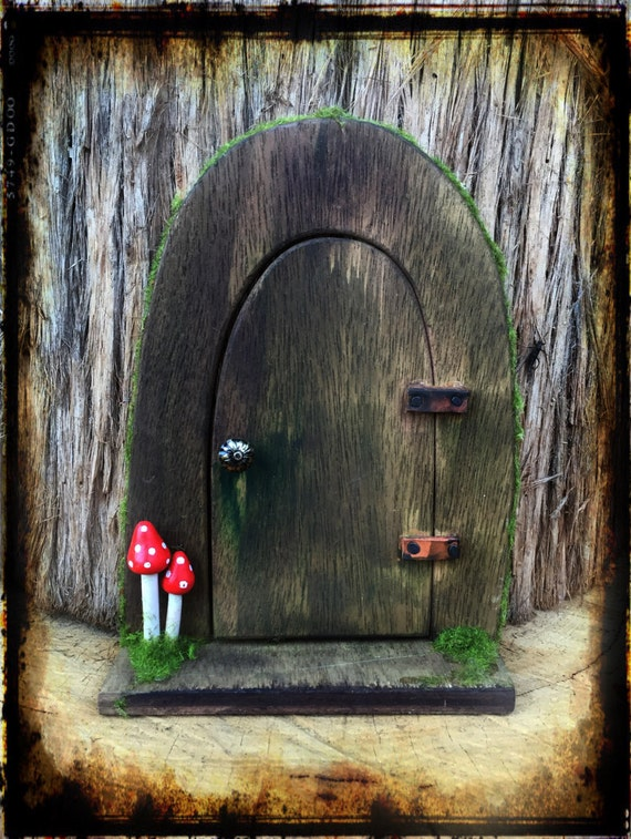 Wooden arched fairy door with mushrooms for Wooden fairy doors
