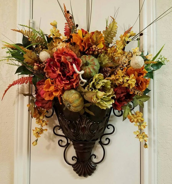 Wall Sconces That Hold Flowers : Elegant Fall Sconce Floral Wall Sconce by SouthTXCreations on Etsy