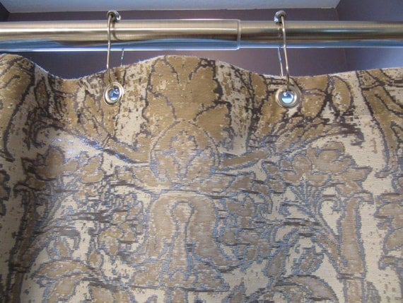 Gray And Gold Damask Shower Curtain With Nickel Plated