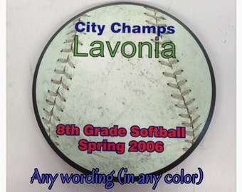 Baseball award plaque trophy customize it with your words in any color