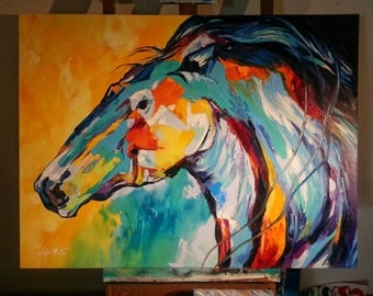 Oil Painting Spontaneous Realism Horse Head Wildlife Pony Nature Trail Galloping Horse Wall Art Canvas Art Home Decor Large Painting