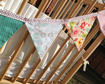 Turqouise and pink, flora, patterned bunting