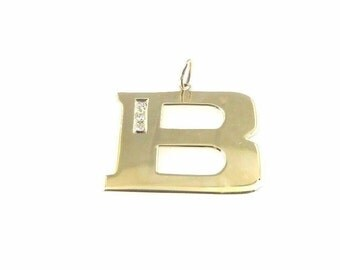 """10k Yellow Gold Letter """"B"""" Initial Pendant Charm With Diamonds"""